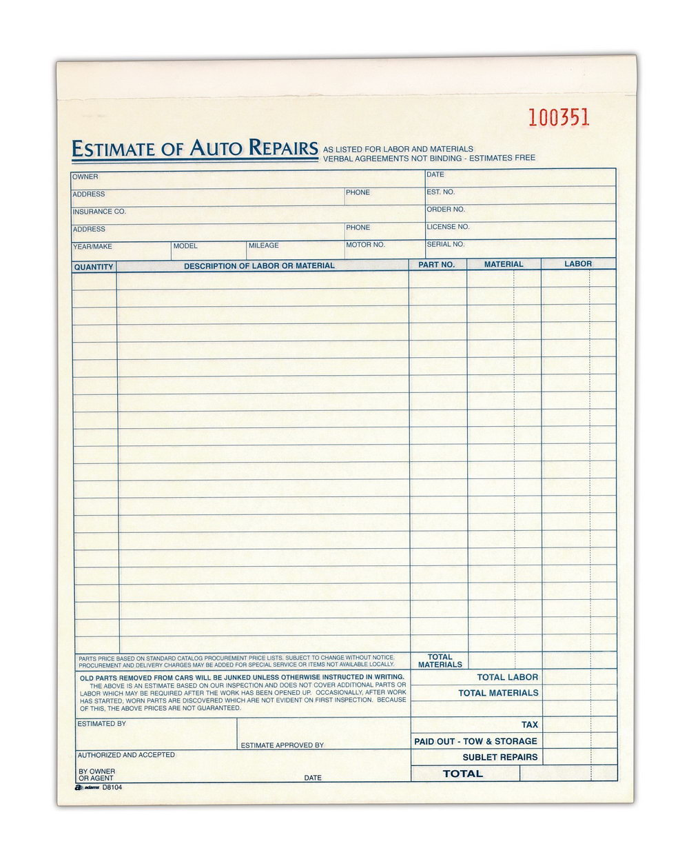 Auto Repair Estimate Template Word