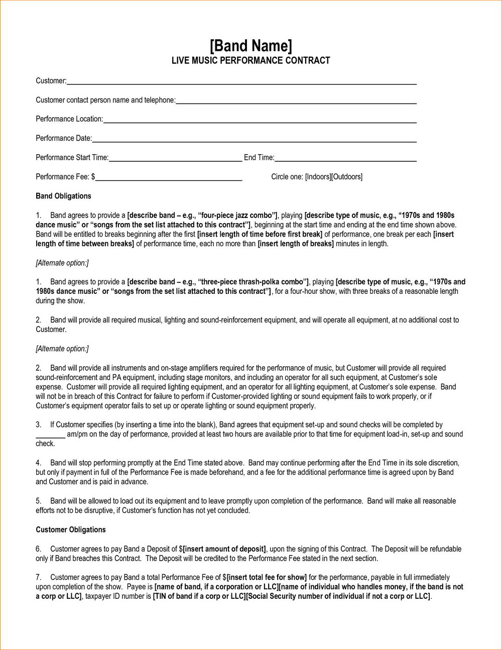 Band Contract Template Pdf Free - Templates #23614 | Resume