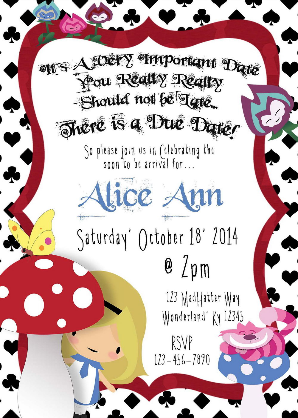 Blank Alice In Wonderland Invitation Template