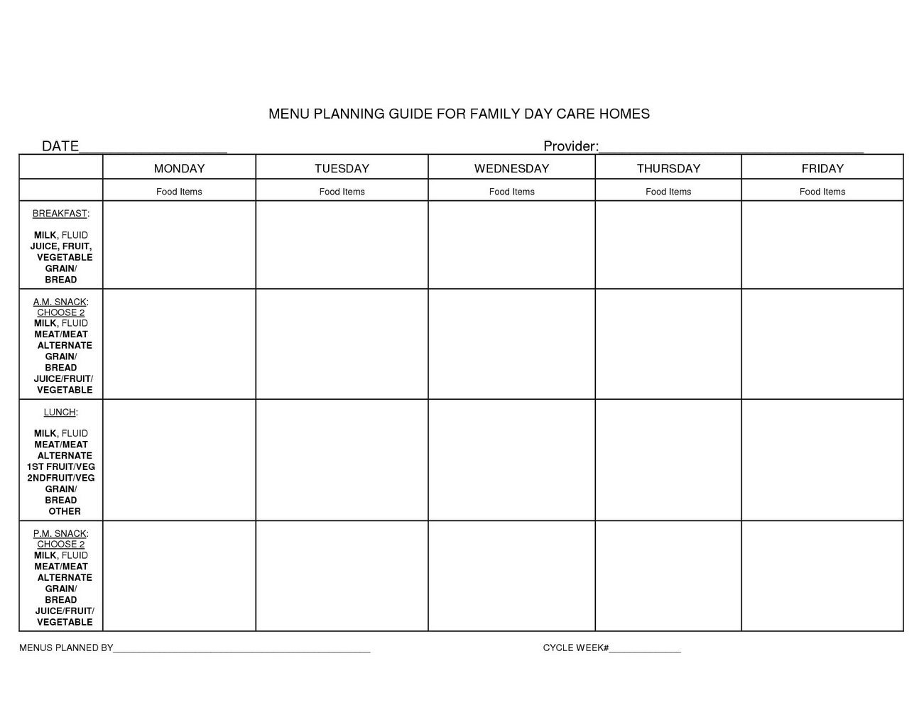 photograph relating to Free Printable Daycare Menus identified as Blank Daycare Menu Template - Templates #MjMwNDM Resume