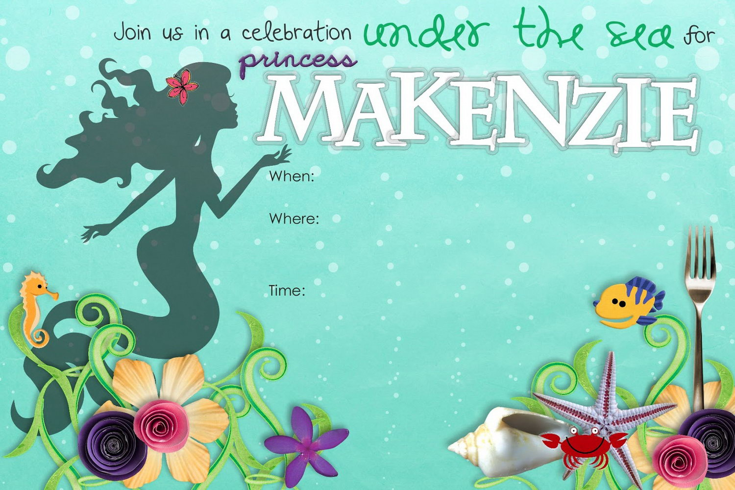 Blank Mermaid Invitation Template