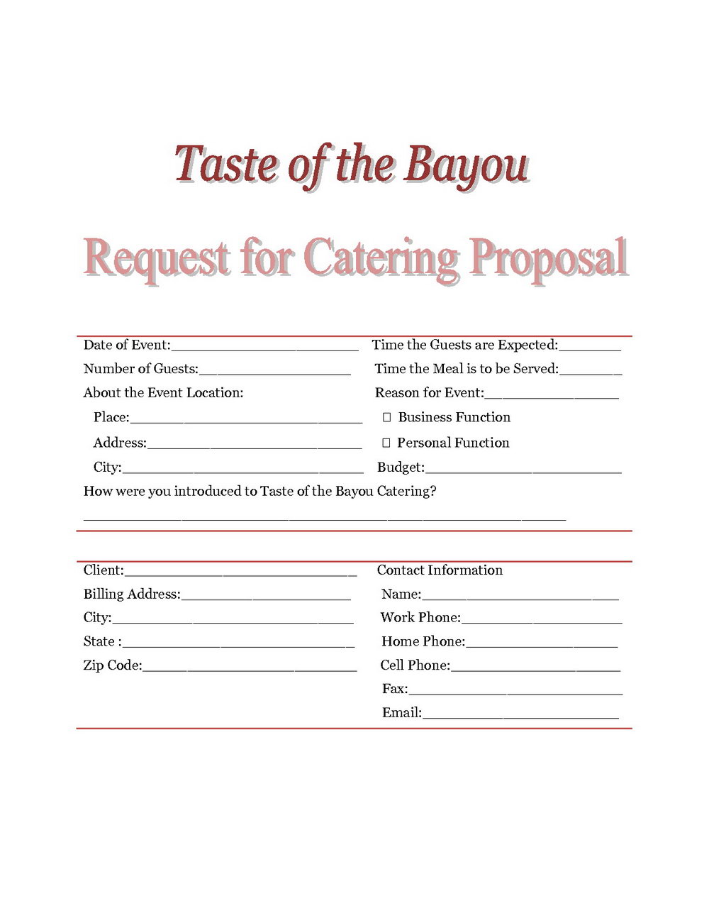 Catering Business Proposal Template