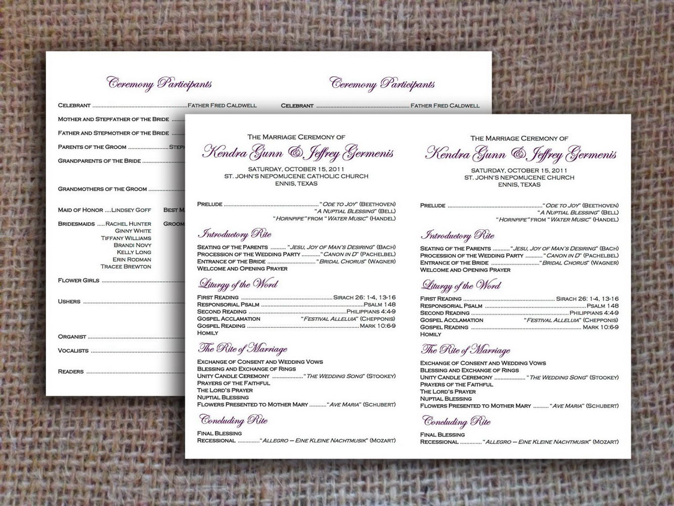 Catholic Wedding Ceremony Without Mass Program Templates