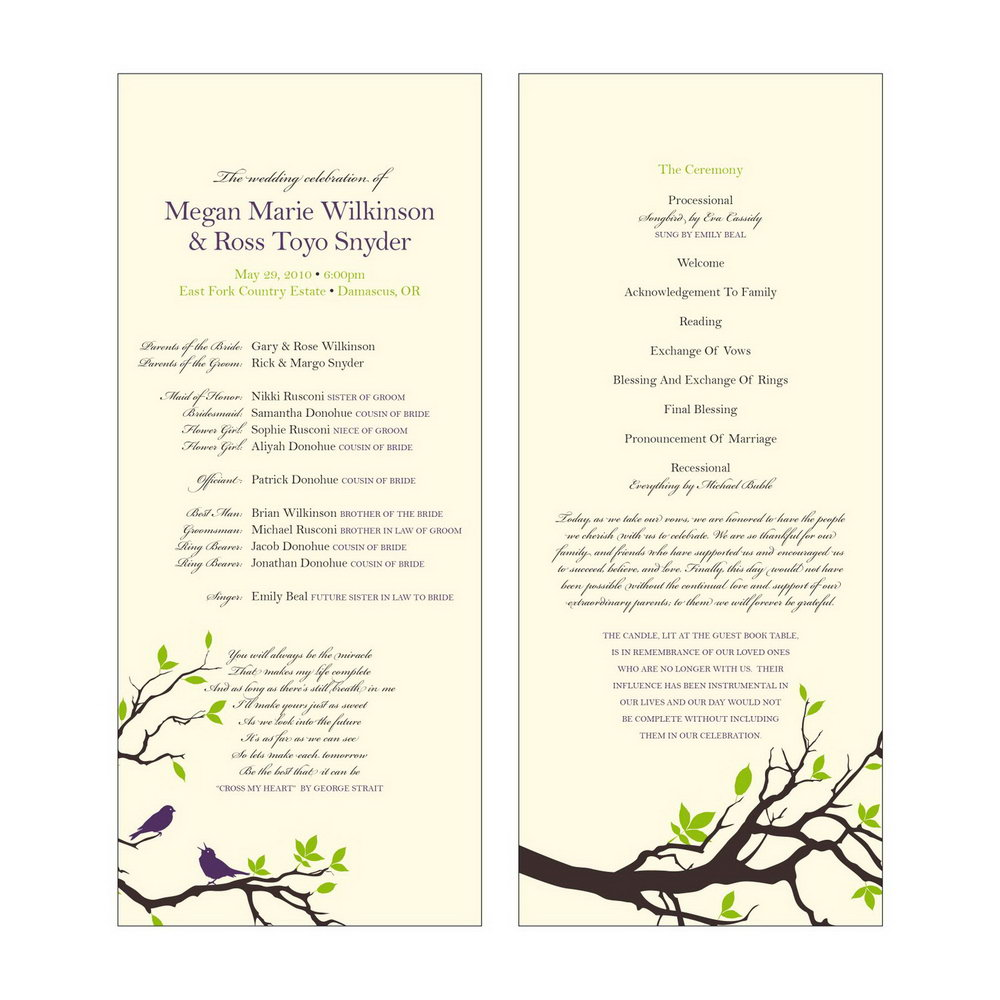 Catholic Wedding Program Template Without Mass