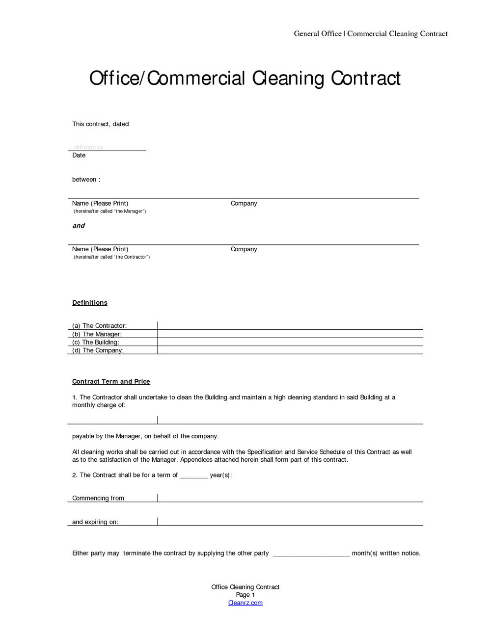 Cleaning Contract Template Australia