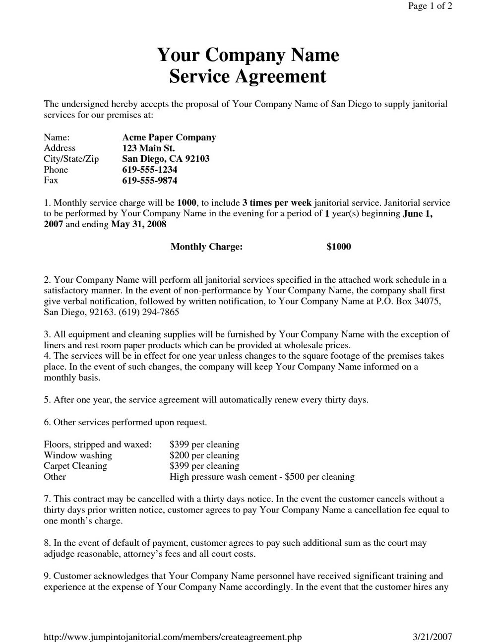 Cleaning Contract Template Free Download