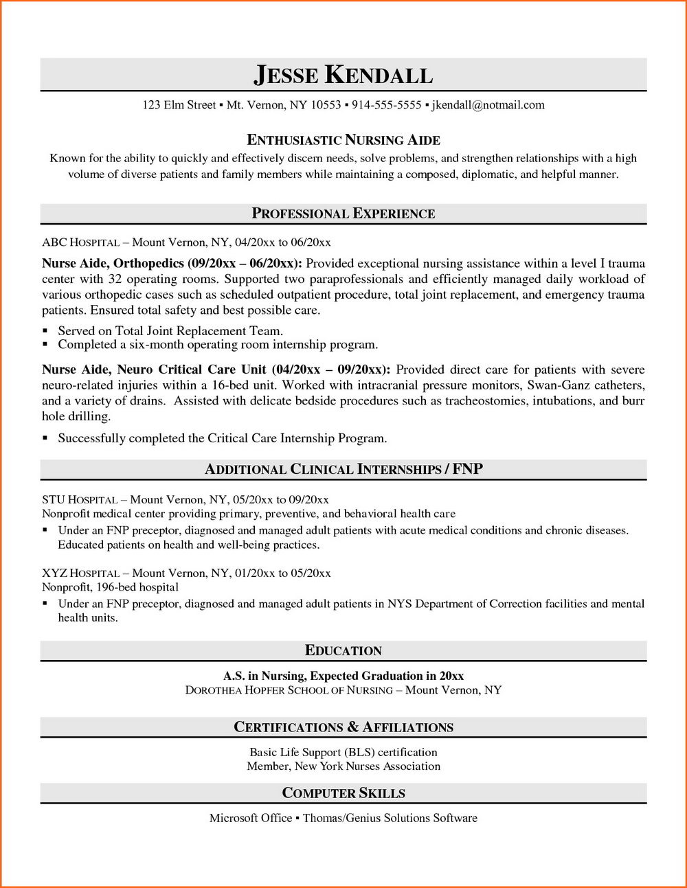 Cna Resume Template Microsoft Word
