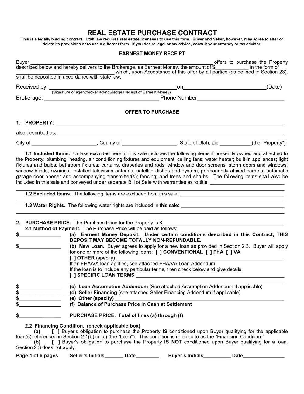 Contract For Sale Of Property Template