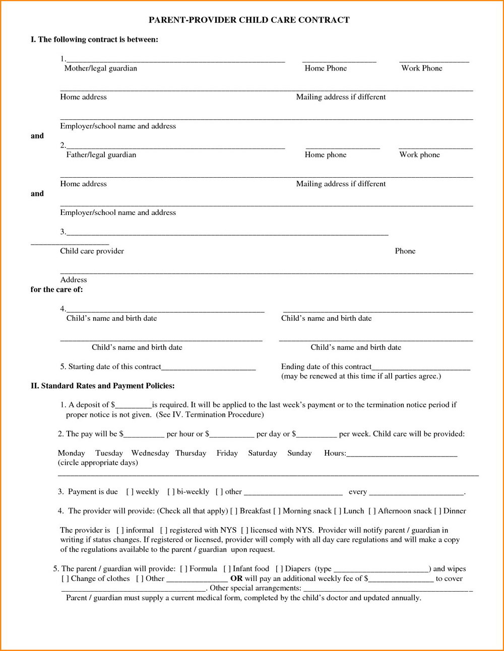 Daycare Contract Template