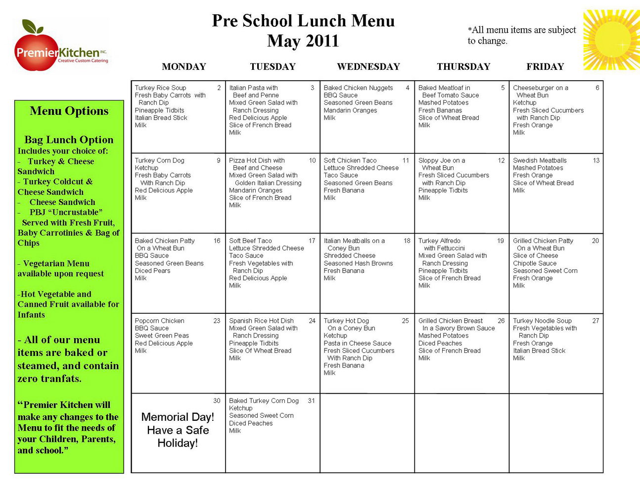 picture regarding Free Printable Daycare Menus referred to as No cost Printable Daycare Menu Template - Templates #MjMxNTI
