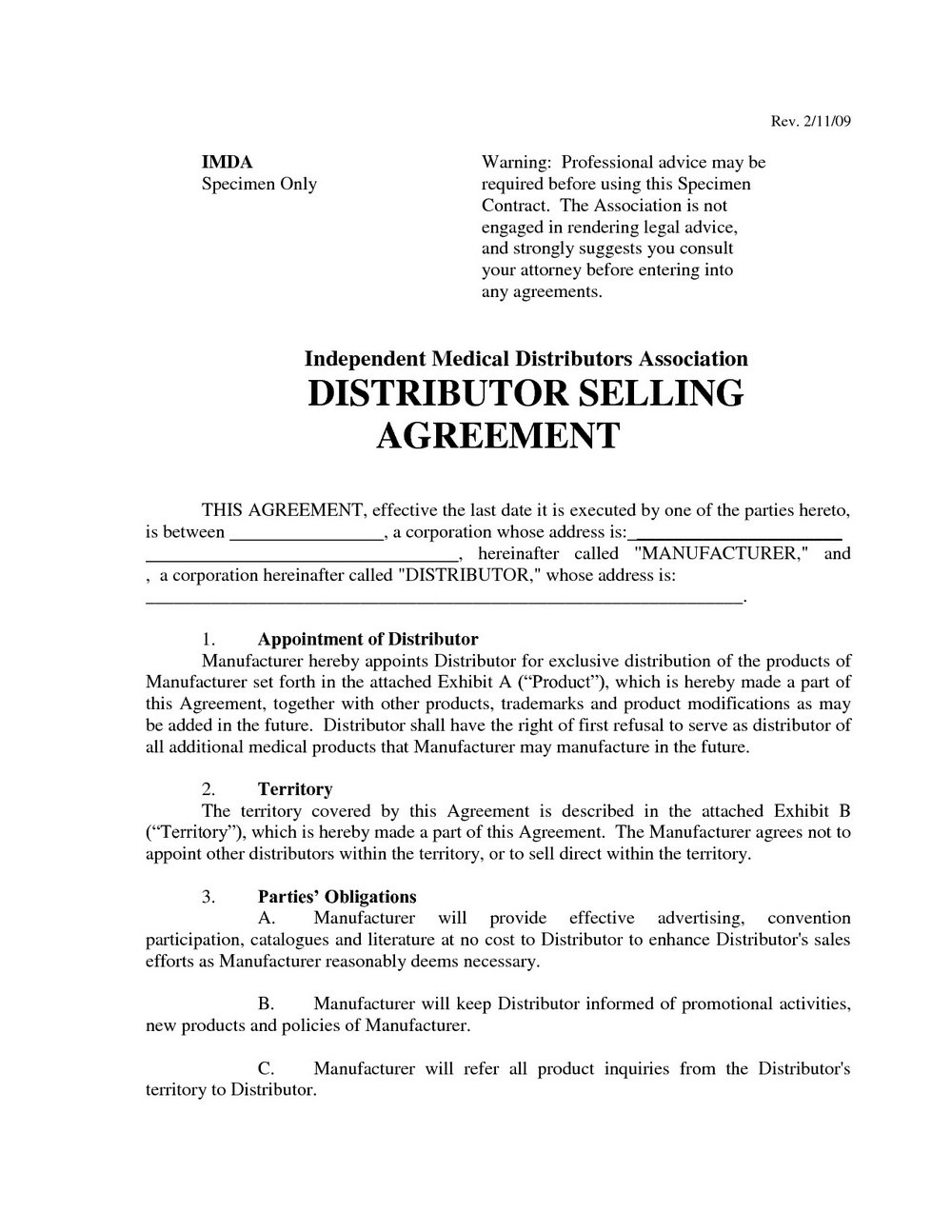 Distribution Agreement Template