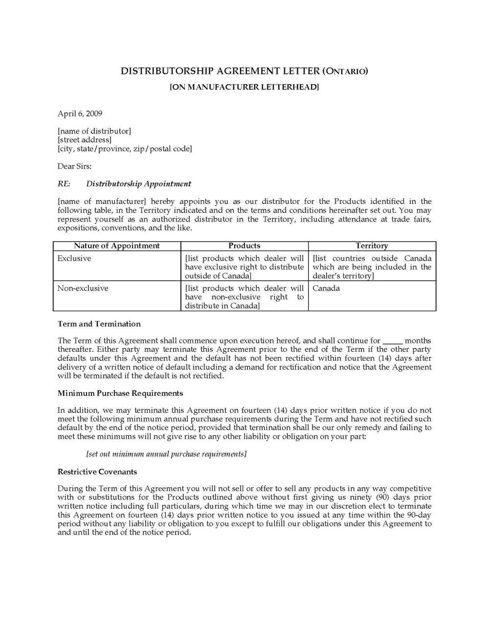 Distributor Agreement Template India