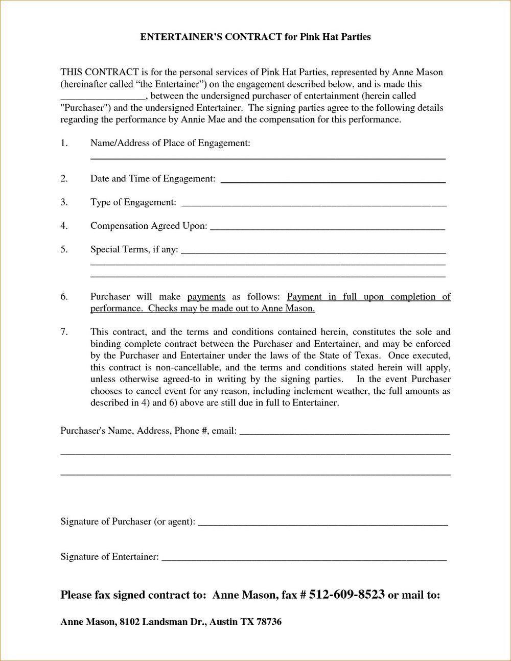 Free Band Contract Template