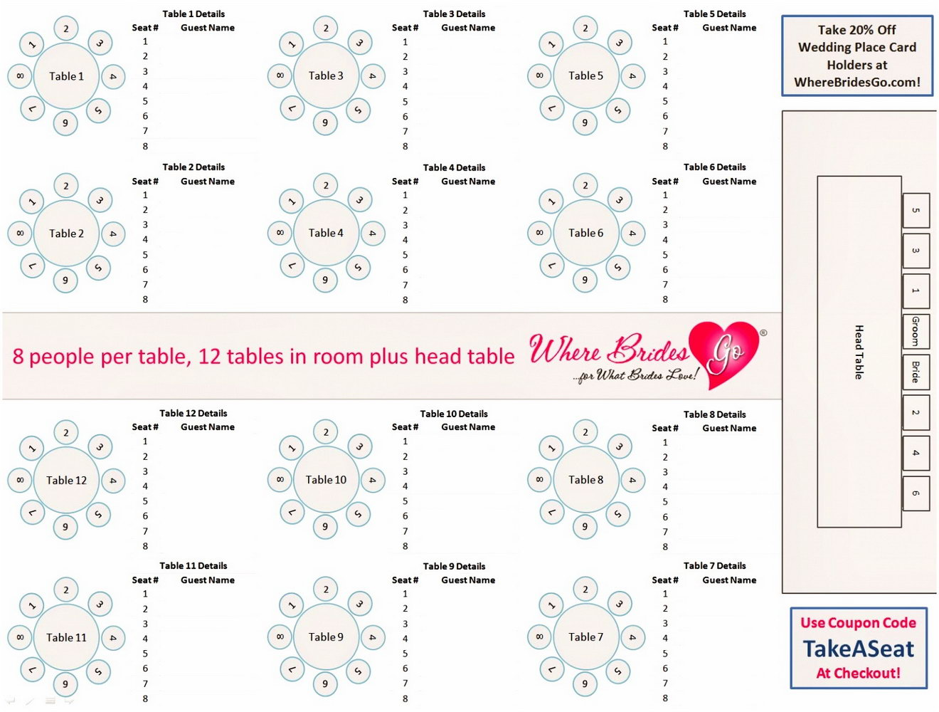 Free Wedding Seating Chart Template Word