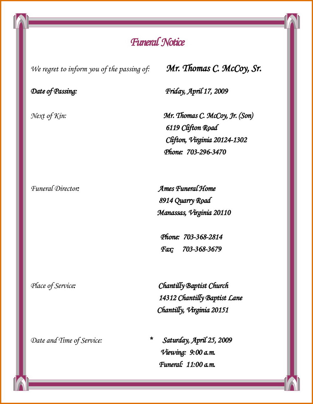 Funeral Invitation Template Free