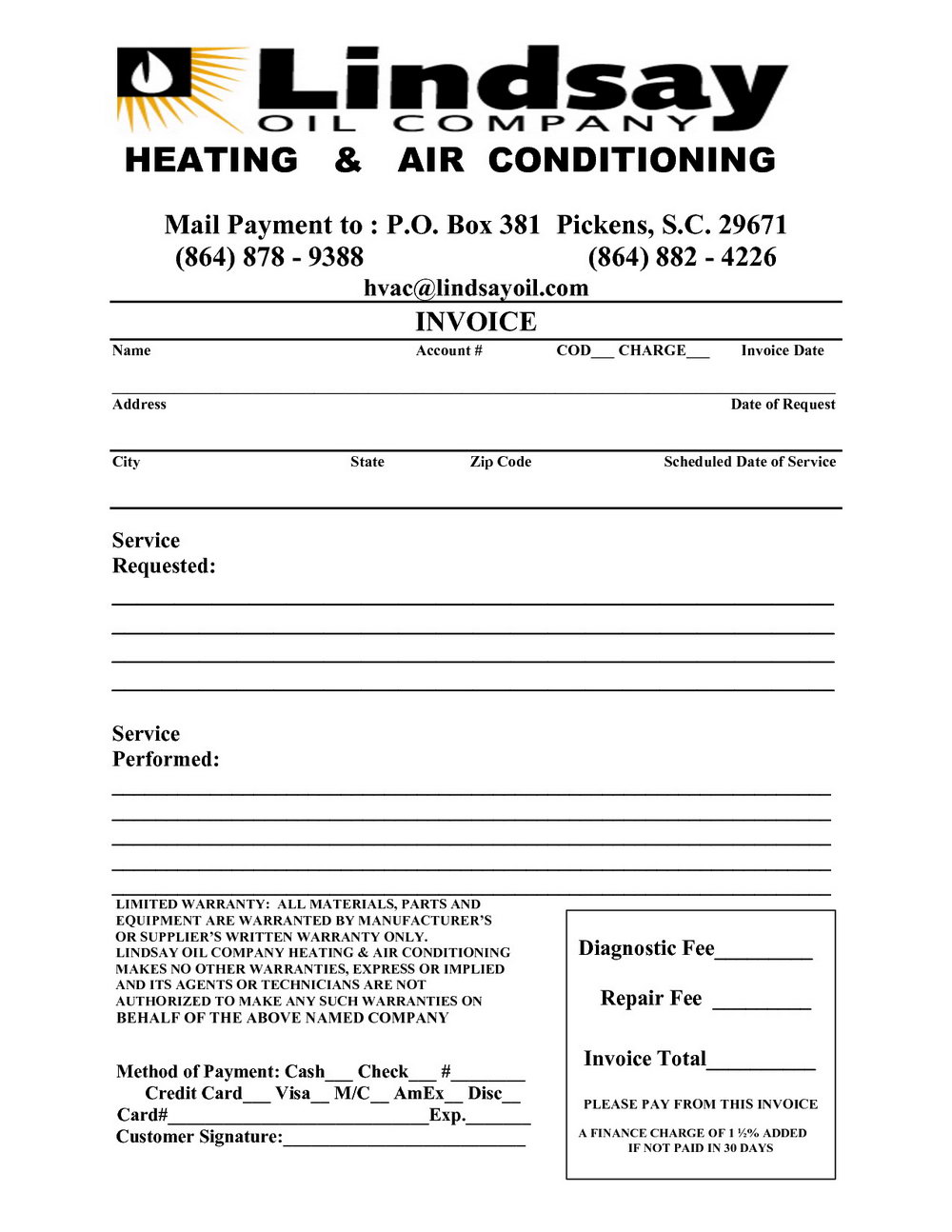 Hvac Repair Invoice Template