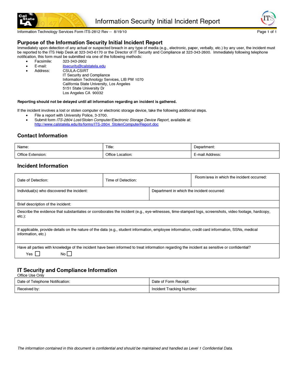 Information Security Incident Report Template