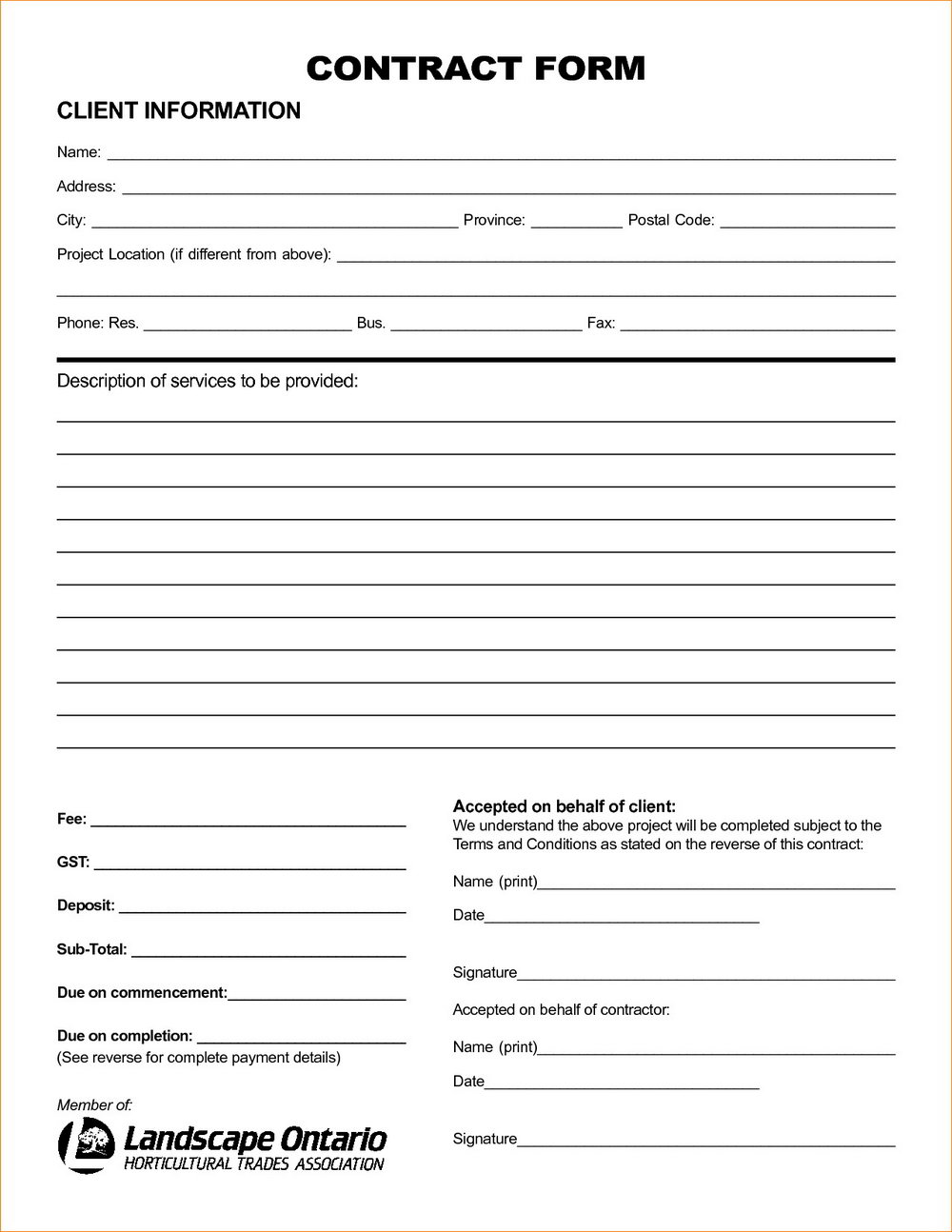 Landscaping Bid Form Template