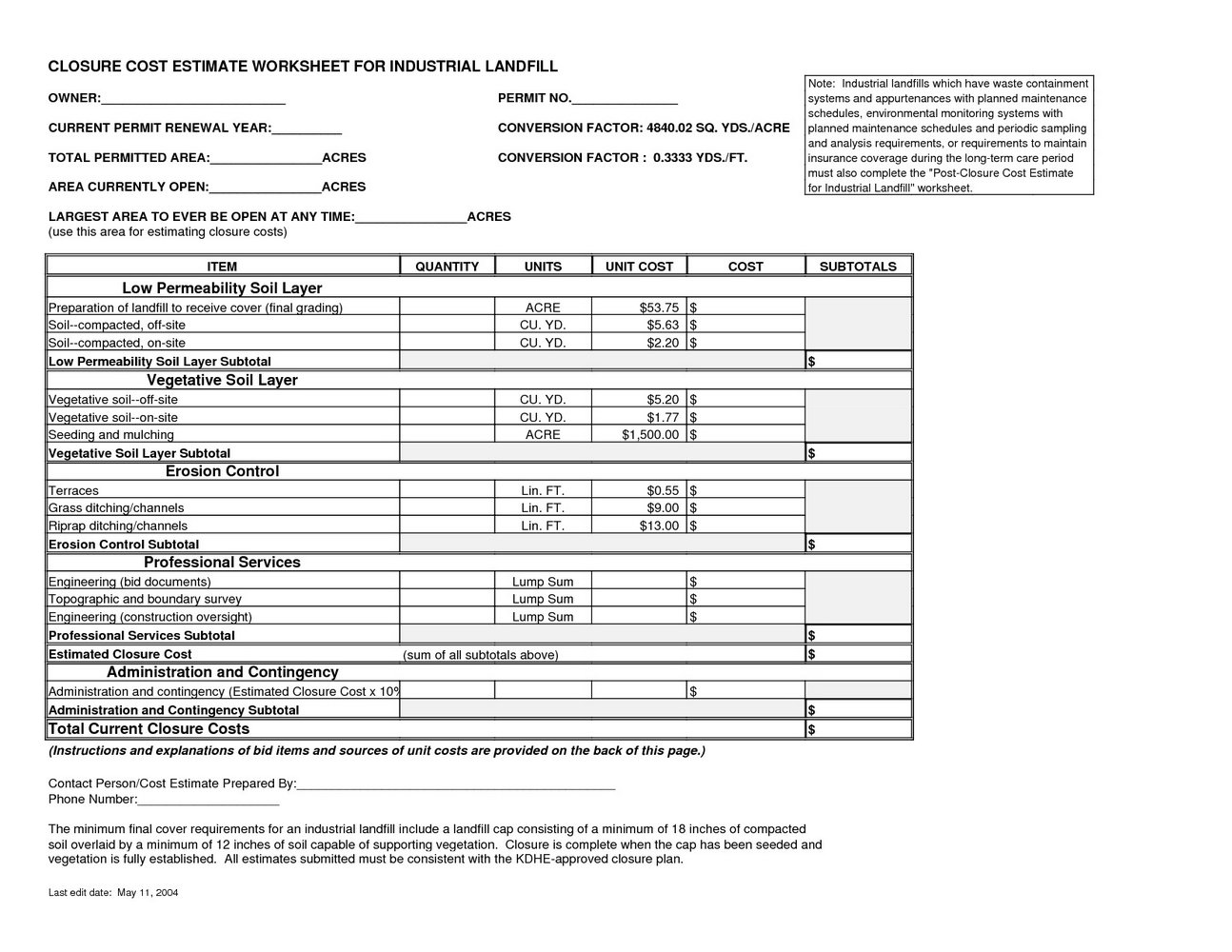 Landscaping Estimate Template Word