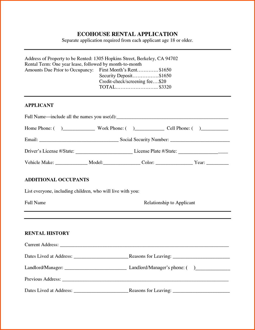 Lease Template Word