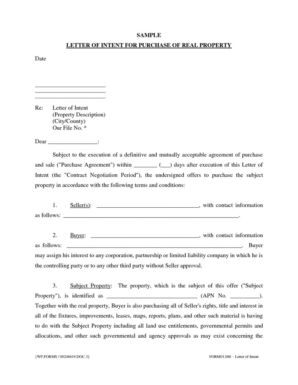 Letter Of Intent To Purchase Real Estate Template