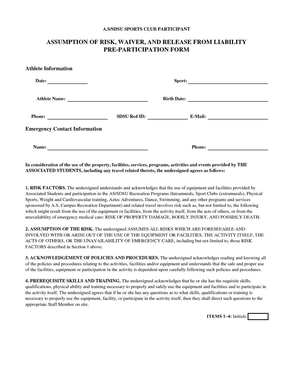 Liability Waiver Form Template Canada