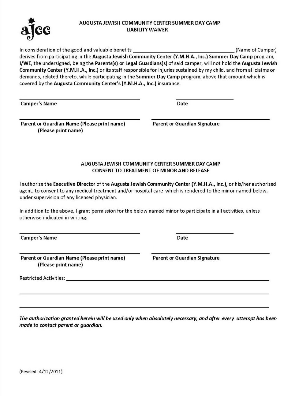 Liability Waiver Form Template Free