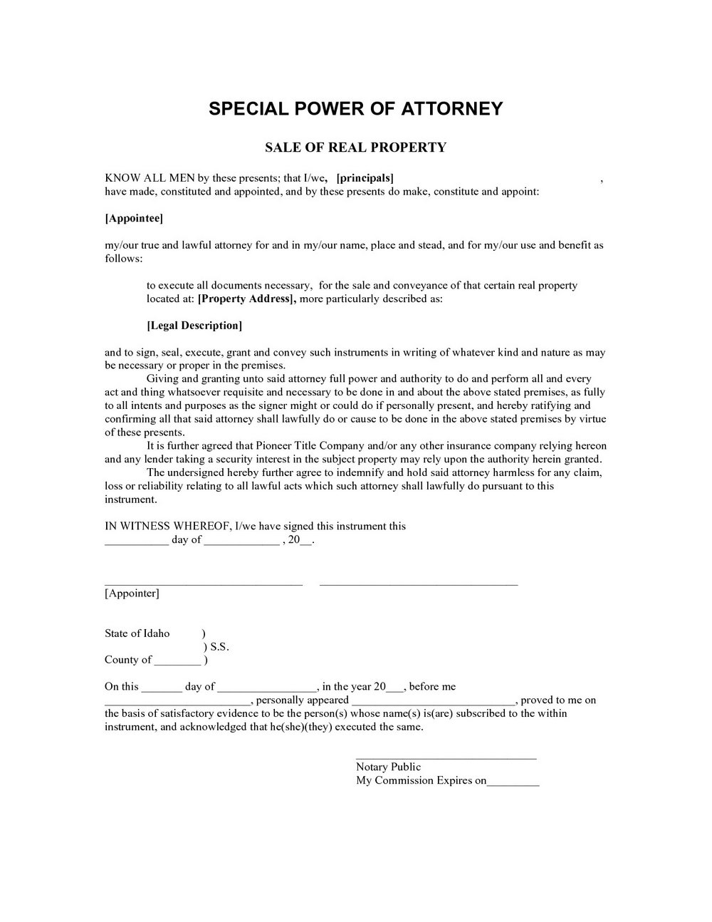 Limited Power Of Attorney Template Uk