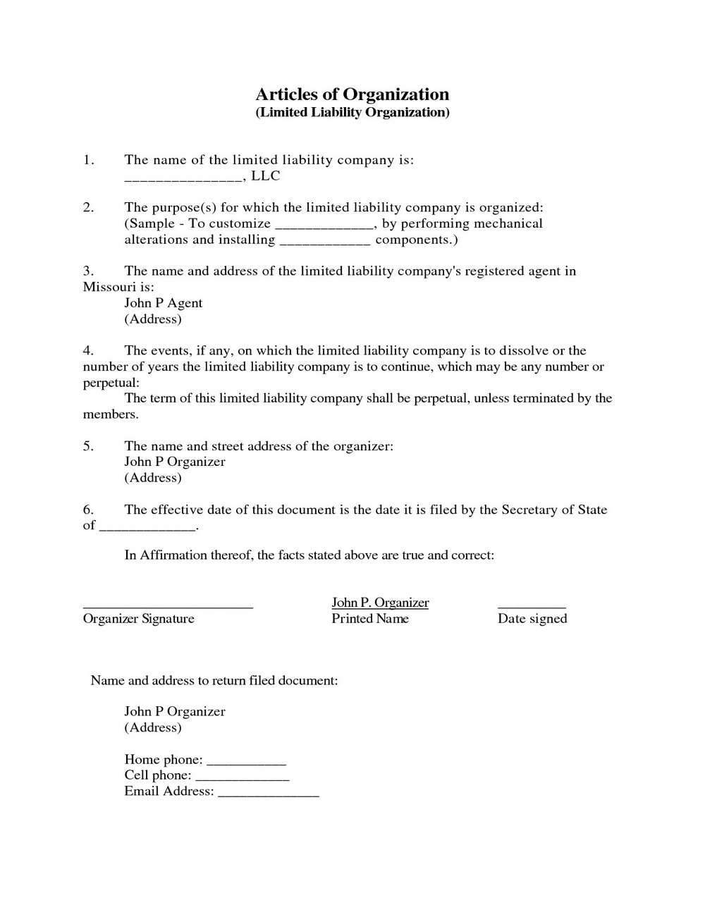 Llc Articles Of Organization Template