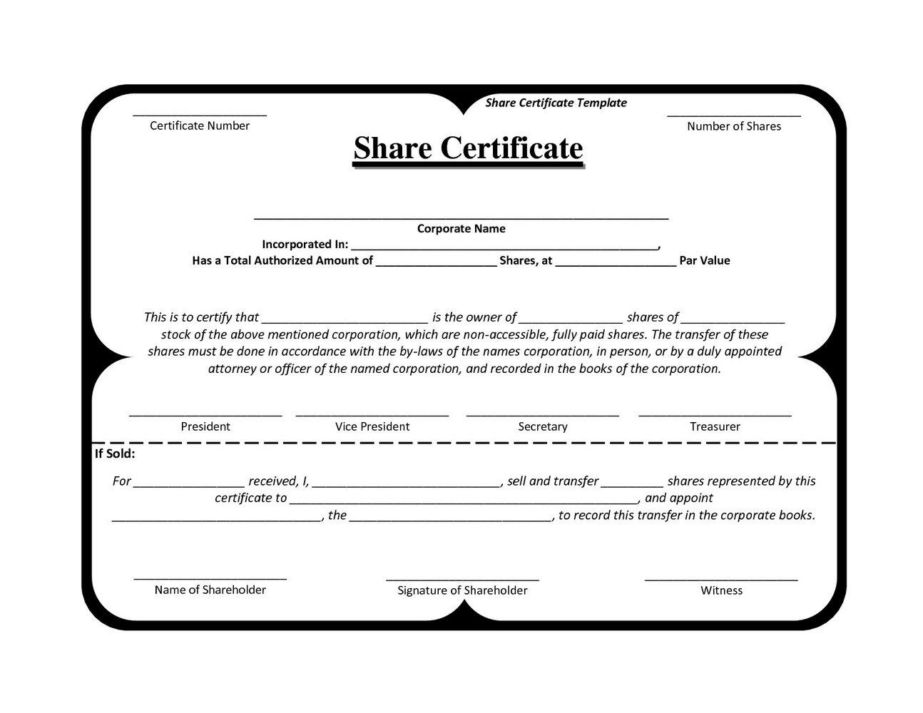 Llc Membership Certificate Template Free