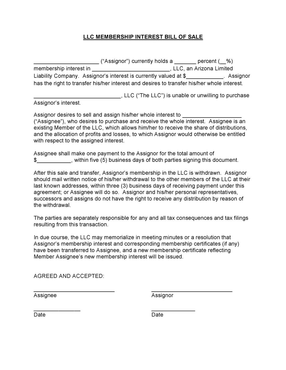 Llc Resolution Form Template