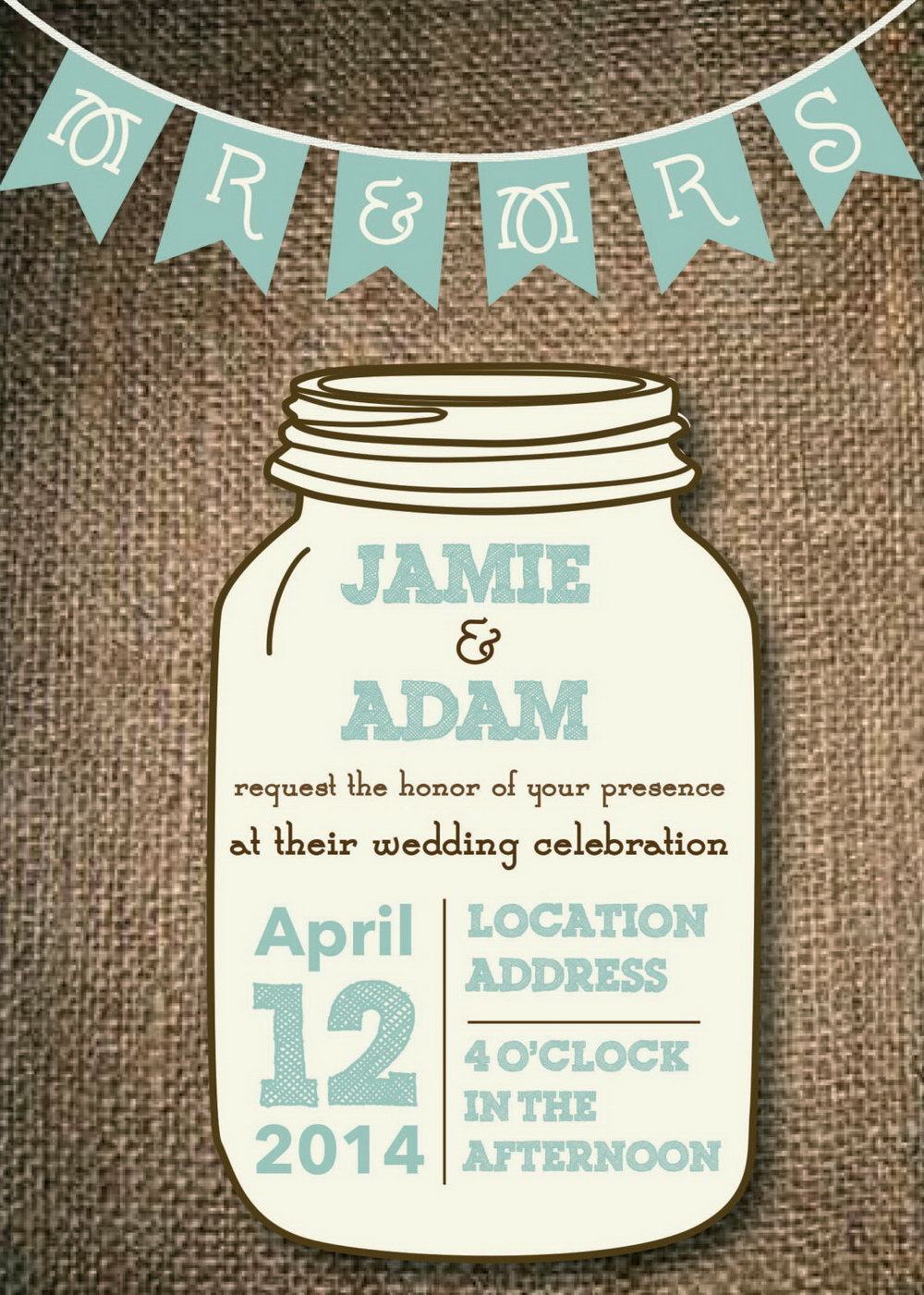 Mason Jar Wedding Invitation Template