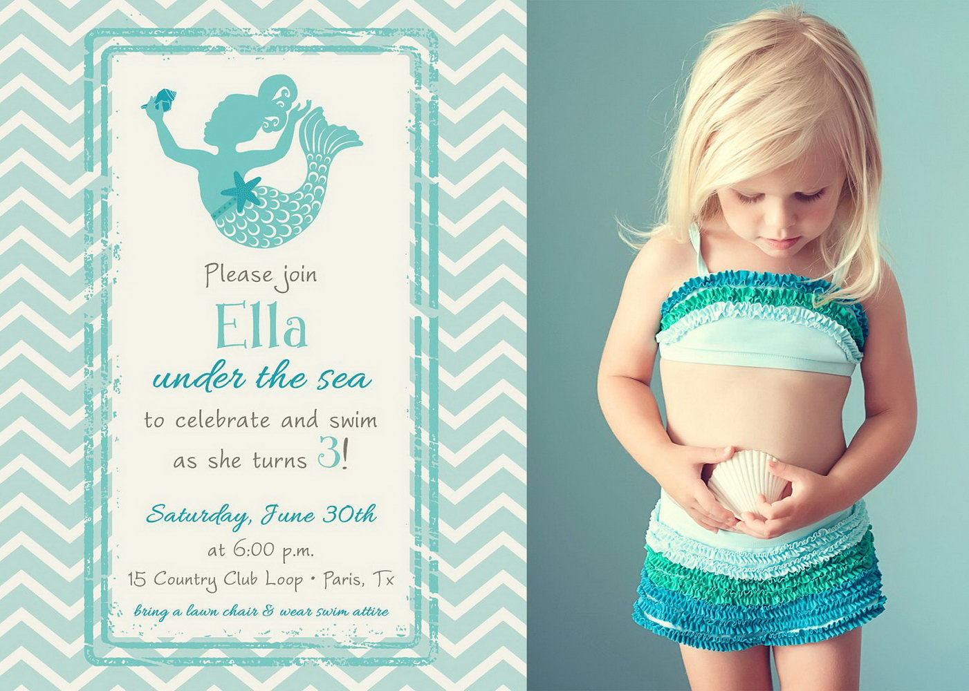 Mermaid Tail Invitation Template
