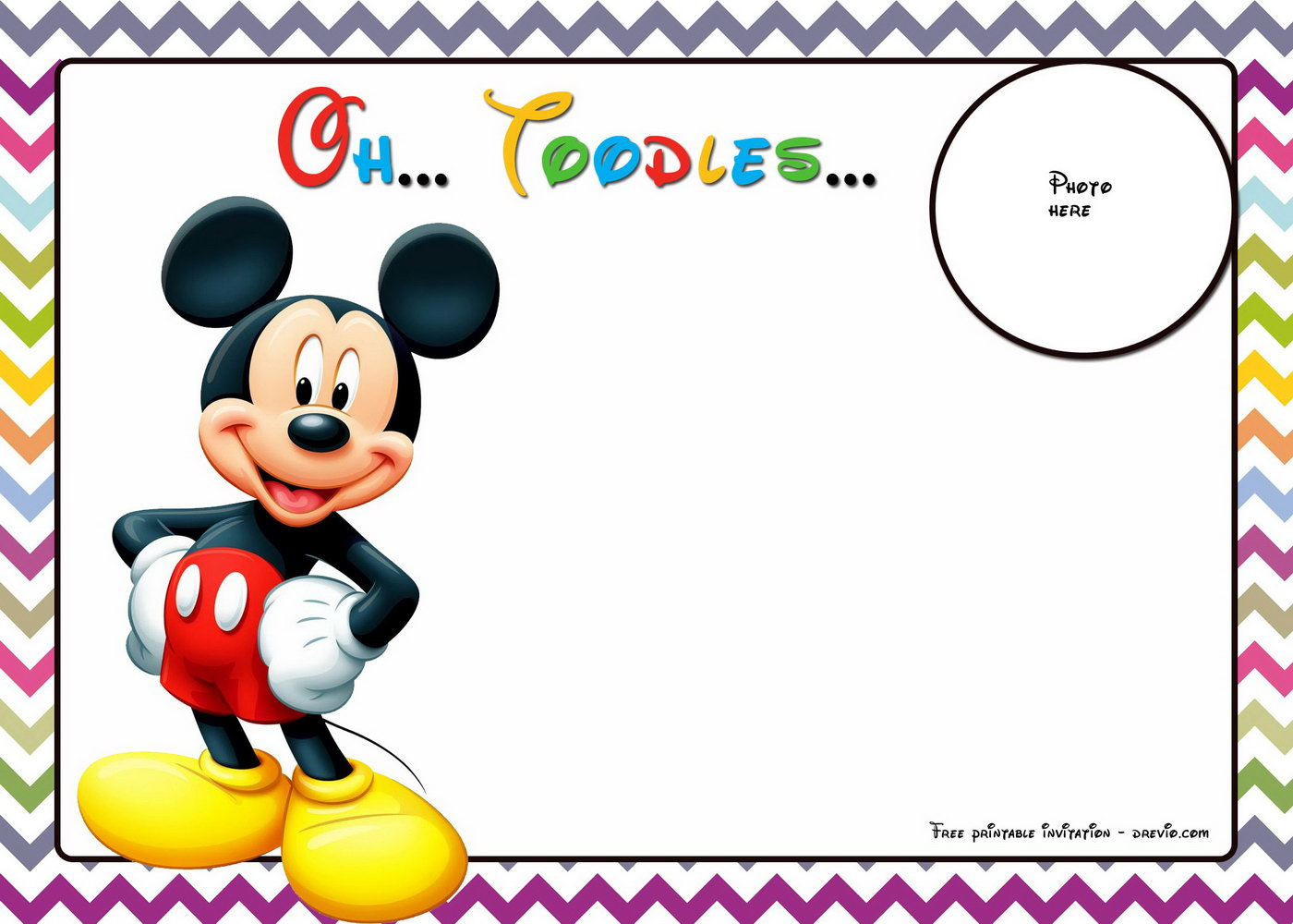 Mickey Mouse Free Birthday Invitation Template