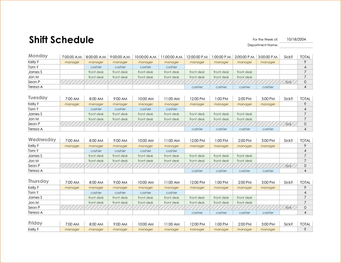 Monthly Employee Scheduling Calendar Template