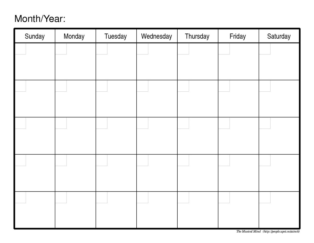 Monthly Scheduling Calendar Template