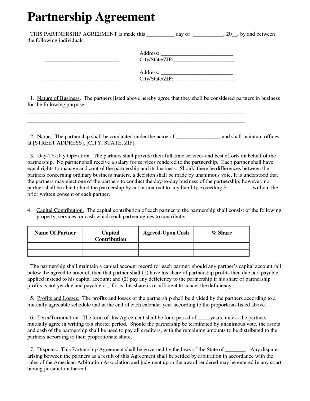 Partnership Contract Template Free