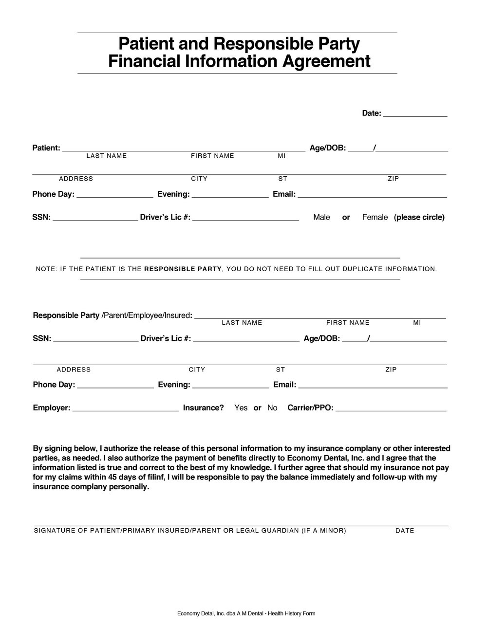 Medical Financial Agreement Template