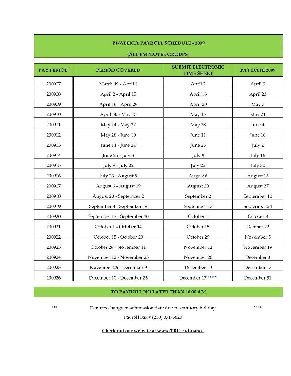 Payroll Calendar Template 2018
