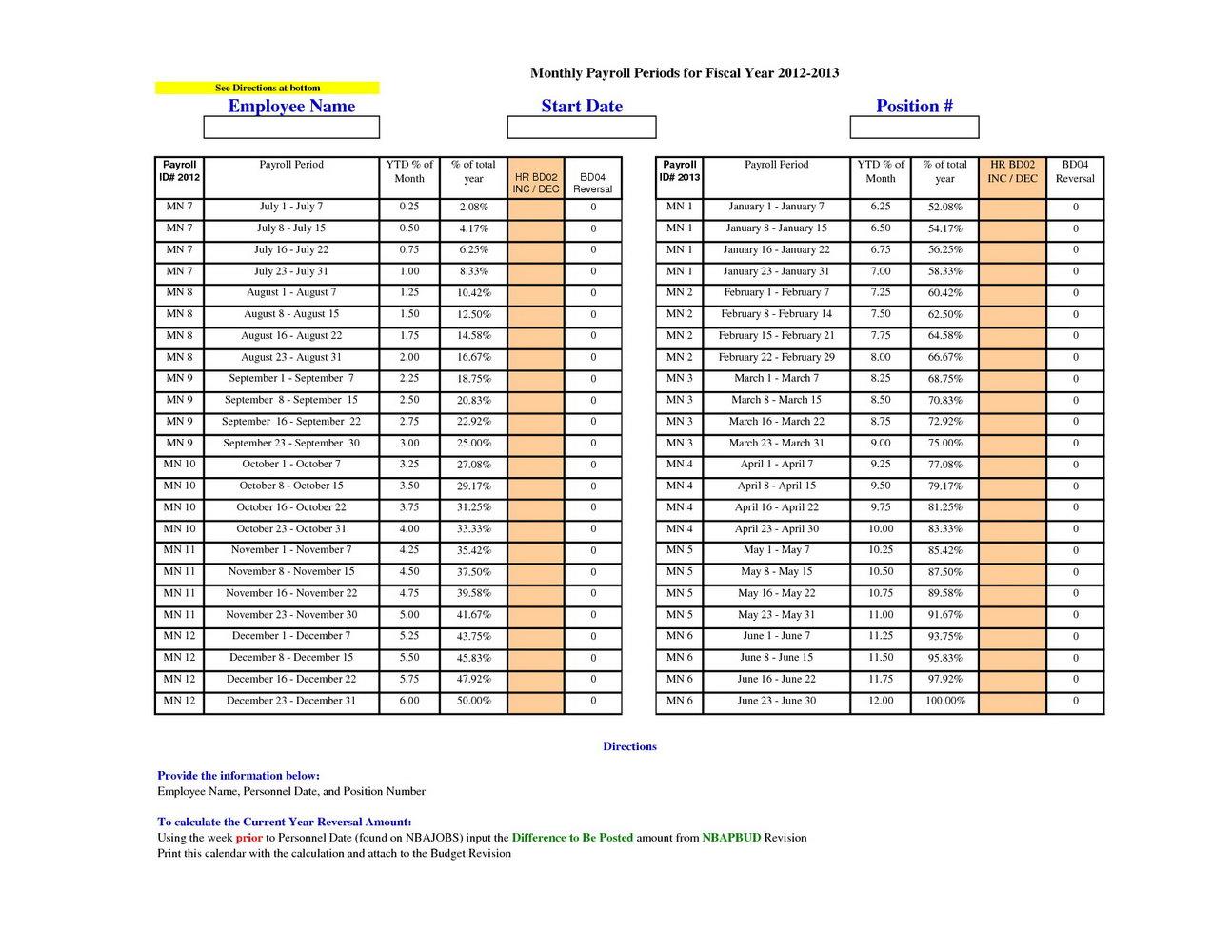 Payroll Calendar Template Excel