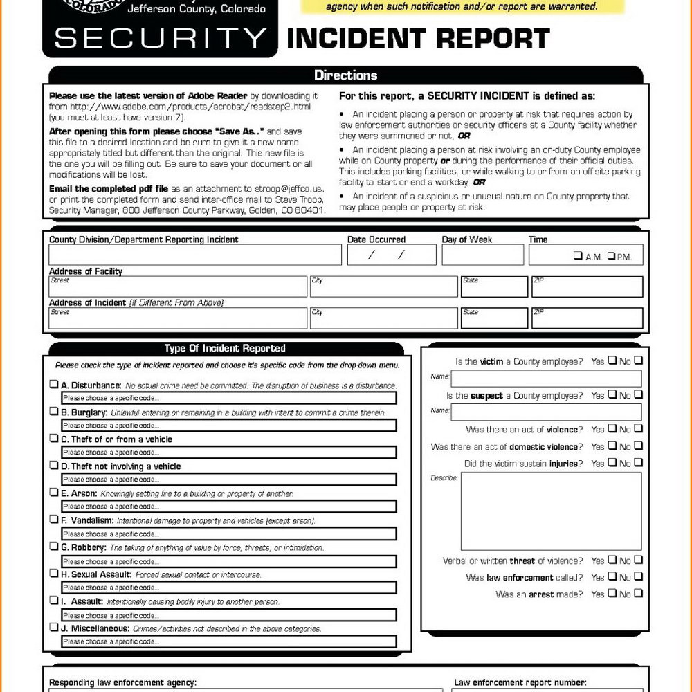 Physical Security Incident Report Template
