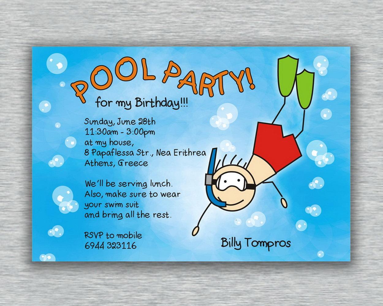 photo regarding Free Printable Pool Party Invitations Templates named Totally free Printable Pool Get together Invites Templates - Templates