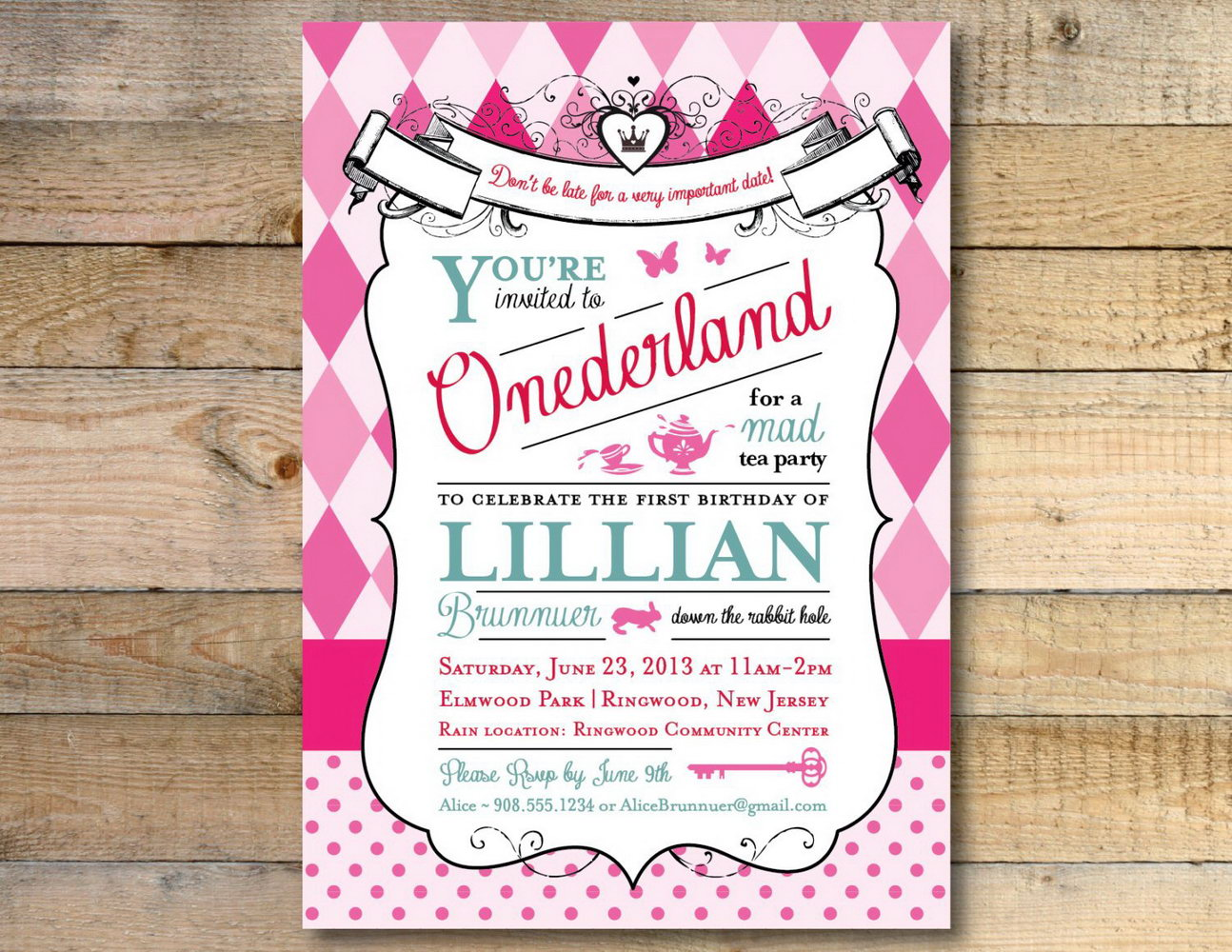 Printable Alice In Wonderland Invitation Template