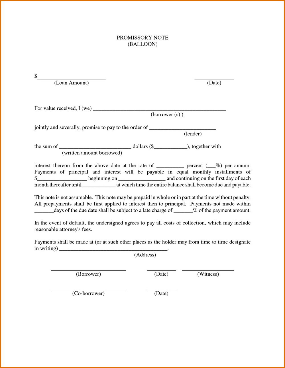 Promissory Note Template Pdf Free