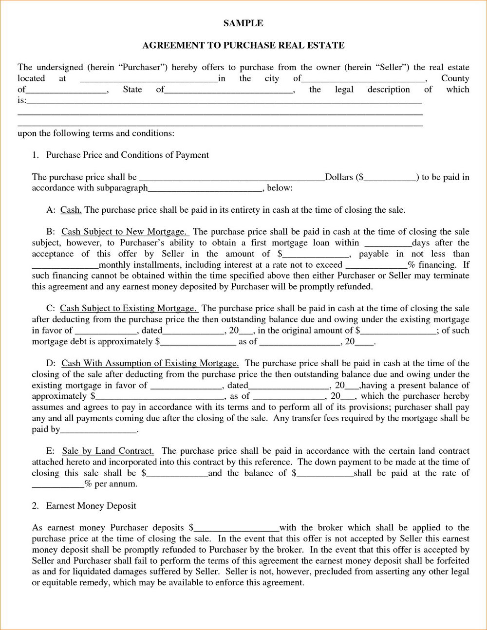Real Estate Purchase Contract Template Utah