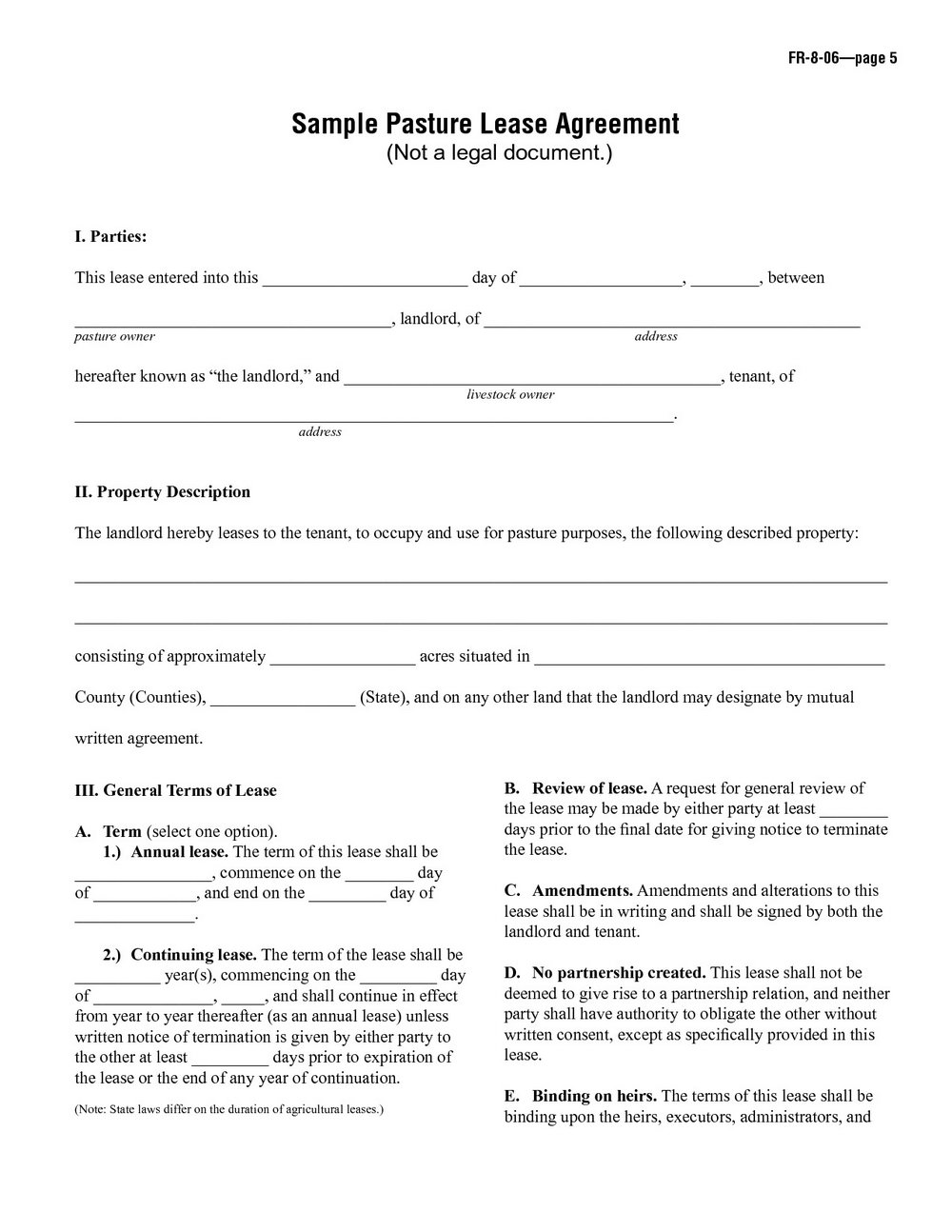 Renters Agreement Contract Template