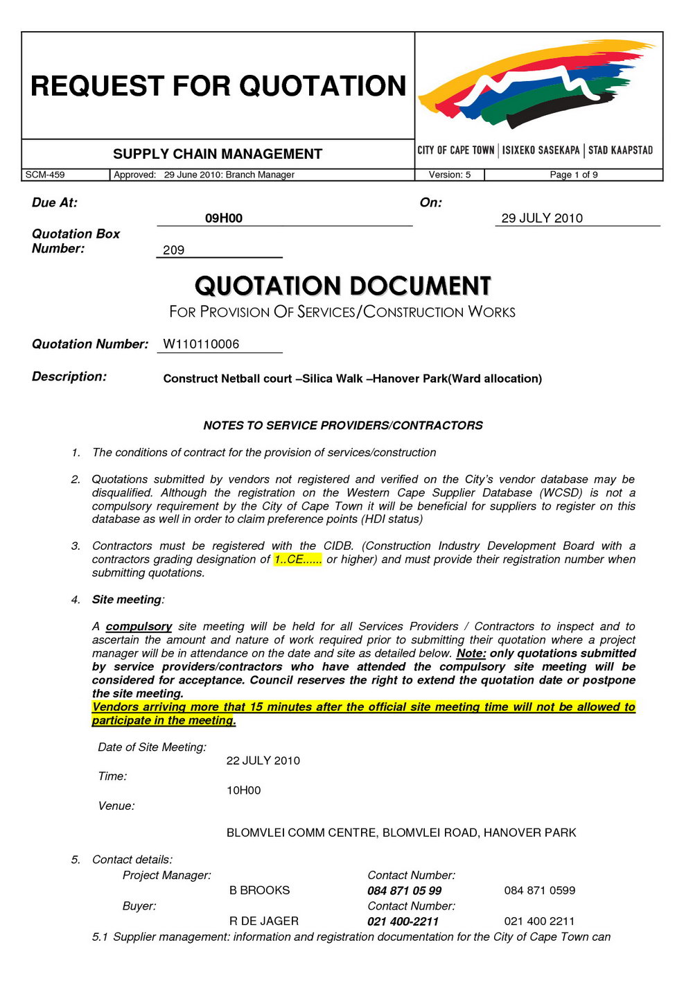 Request For Quote Template Construction