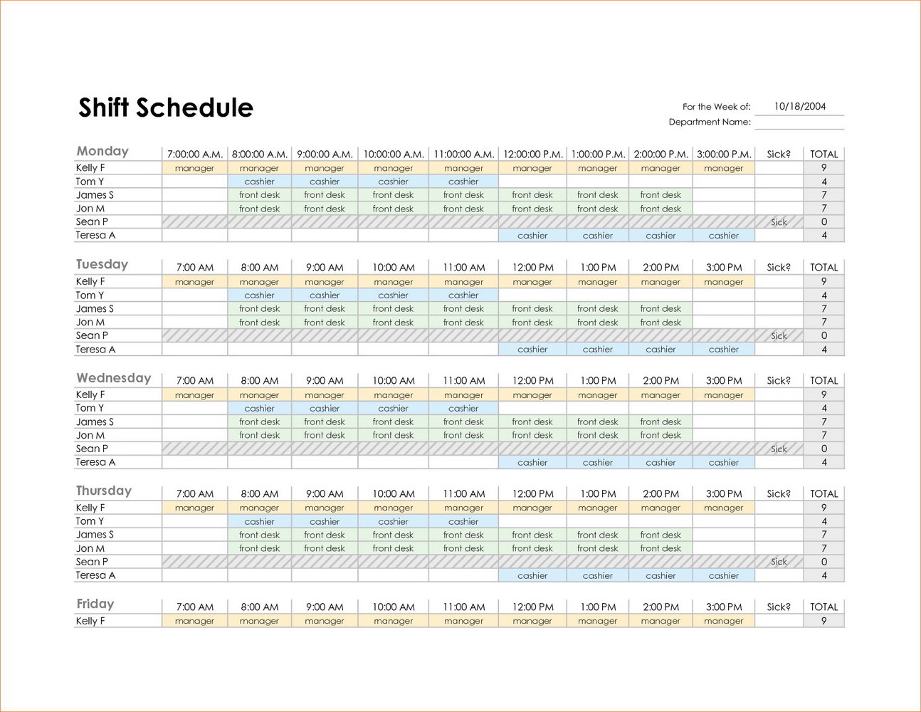 Restaurant Kitchen Cleaning Schedule Template
