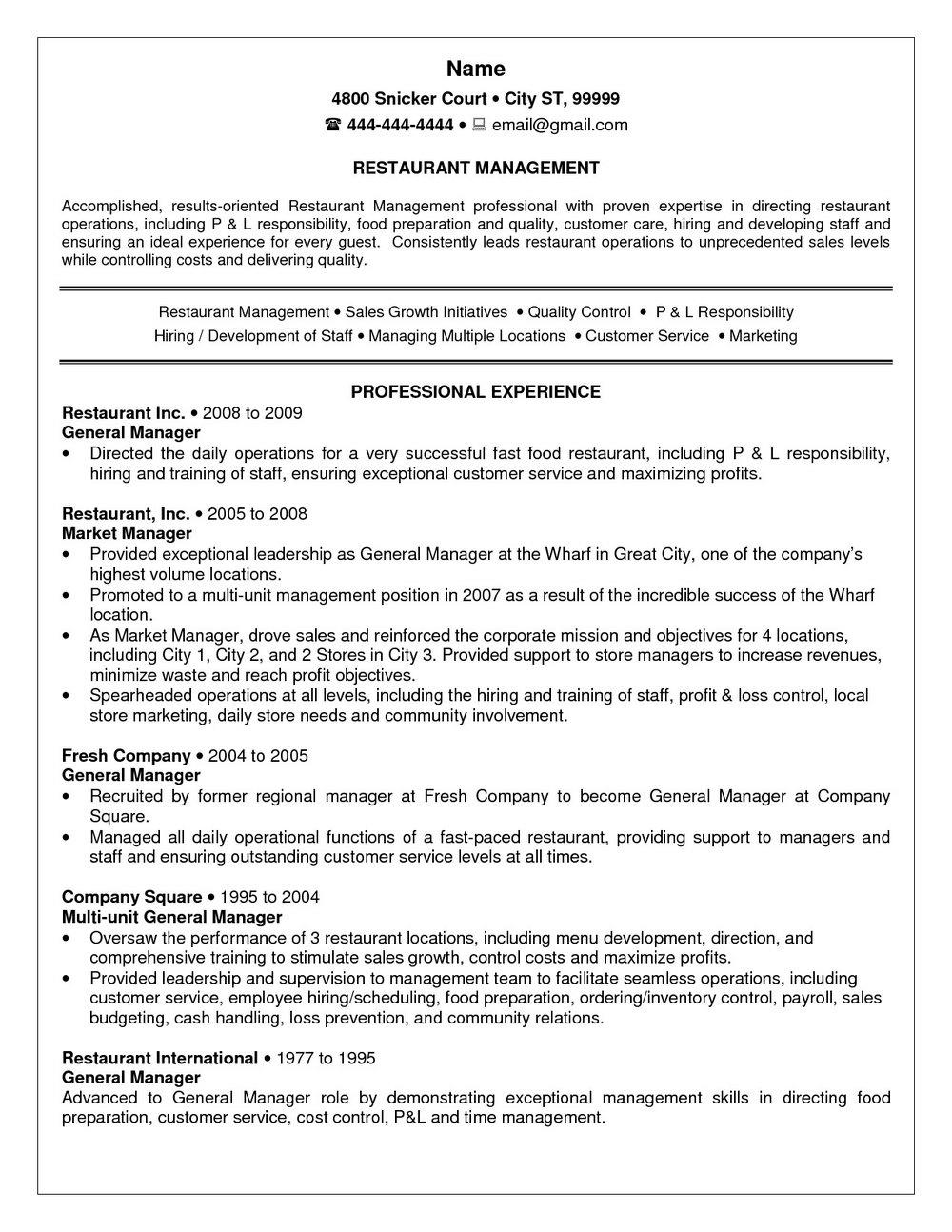 Resume Templates For Restaurant Jobs Templates 22613