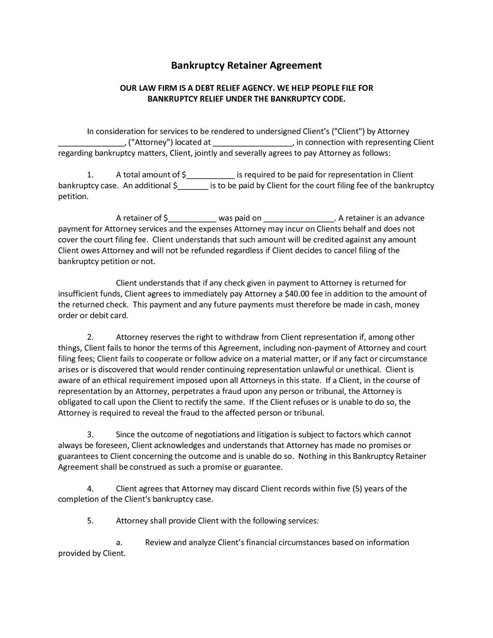 Retainer Agreement Template